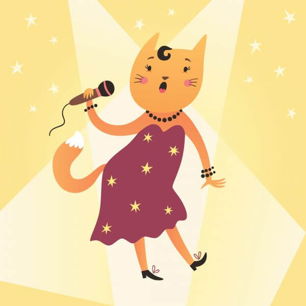 Cat singer vector