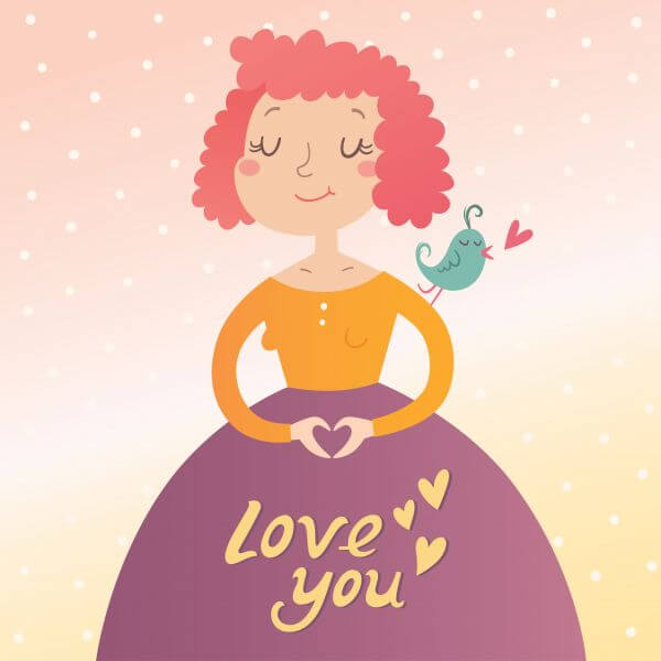 Vector illustration of young woman in love. Valentine's day card vector