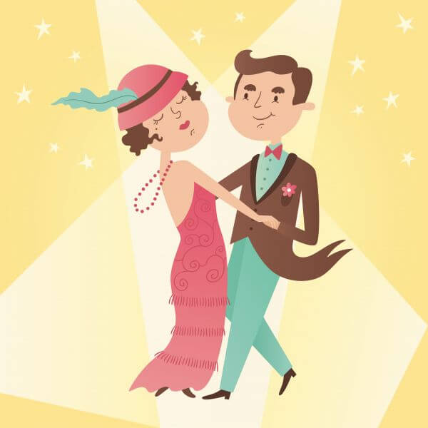 Illustration of vintage dance couple vector