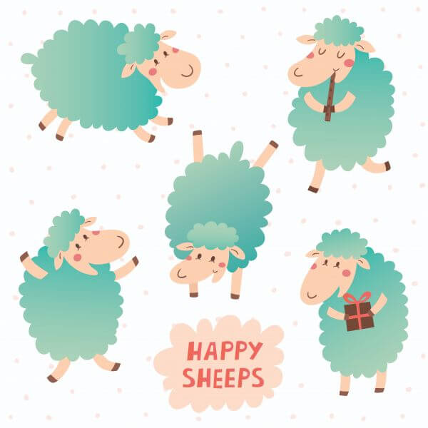 Happy sheeps vector