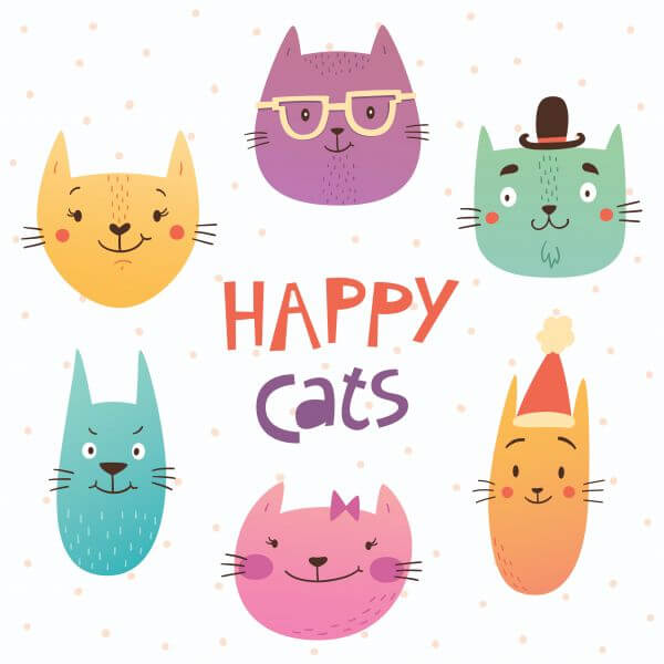 Funny cats faces vector