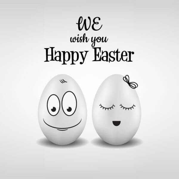 Easter pattern with eggs and typography vector