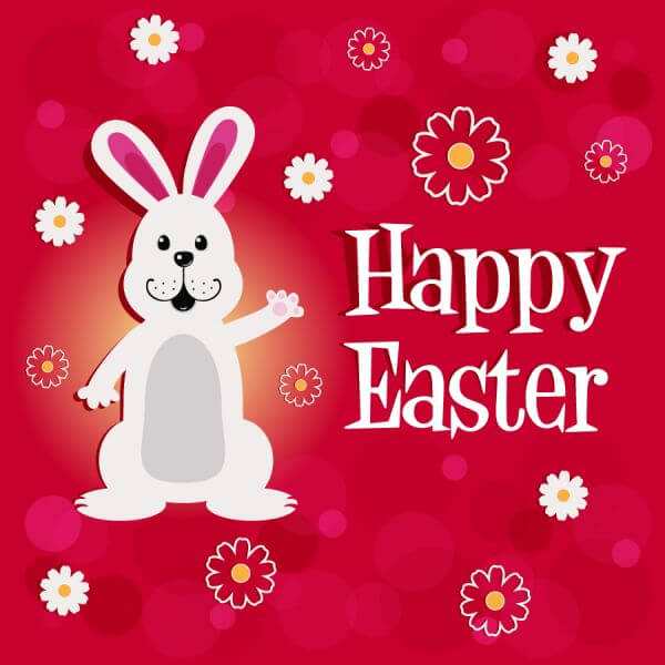 Easter illustration with rabbit and flowers vector