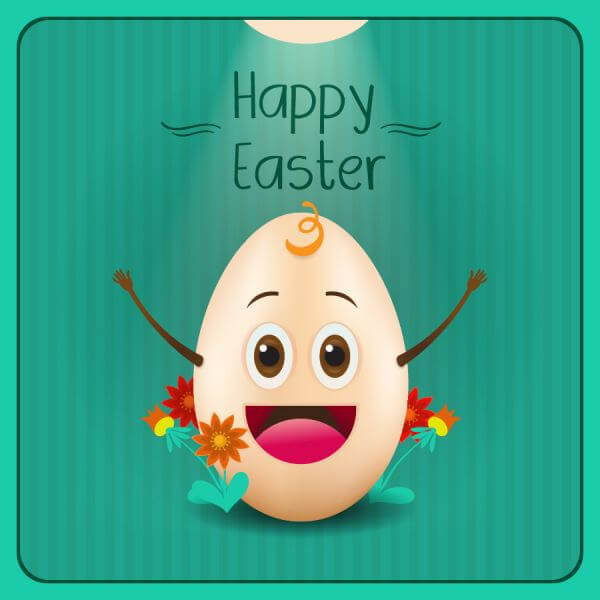 Easter illustration with flowers and cartoon egg vector