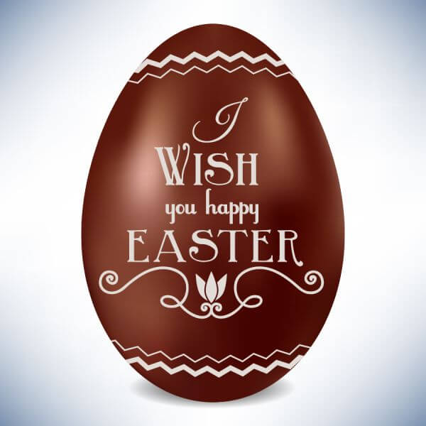 Easter illustration with chocolate egg vector