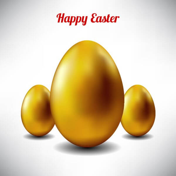 Easter illustration with golden egg vector