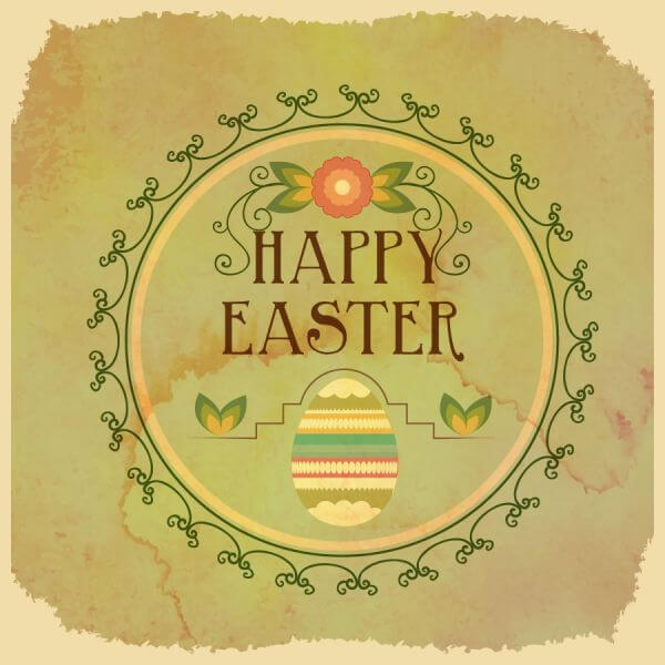 Vintage easter illustration with frame,egg and flowers vector