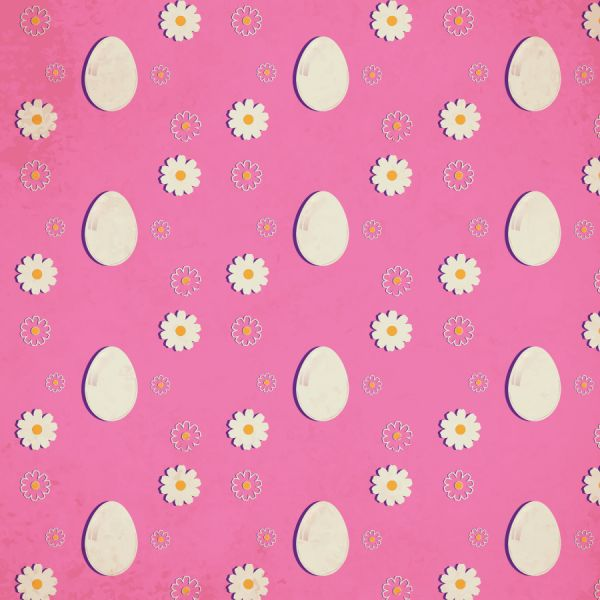 Easter pattern with eggs and flowers vector