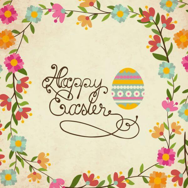 Vintage easter illustration with floral frame vector