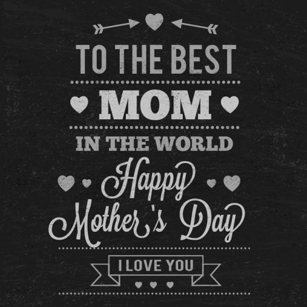 Mother's day Typography On Chalkboard vector