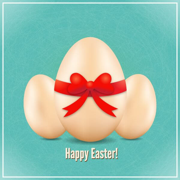 Easter illustration with realistic eggs and bow vector