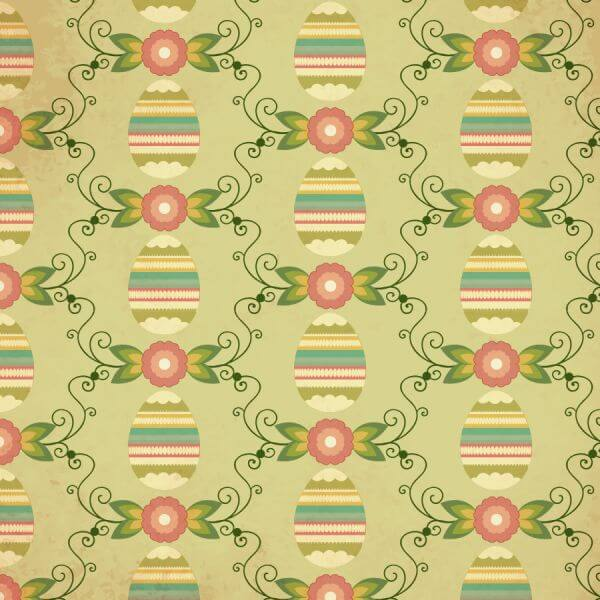 Easter pattern with egg, flower and decoration vector