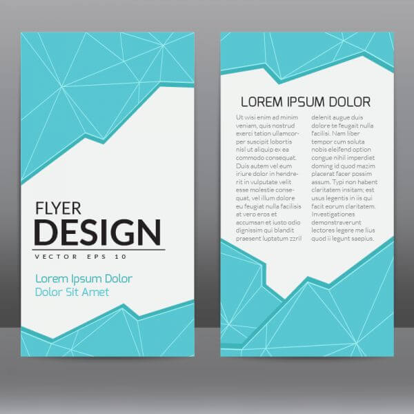 Flyer Template With Blue Polygonal Background vector