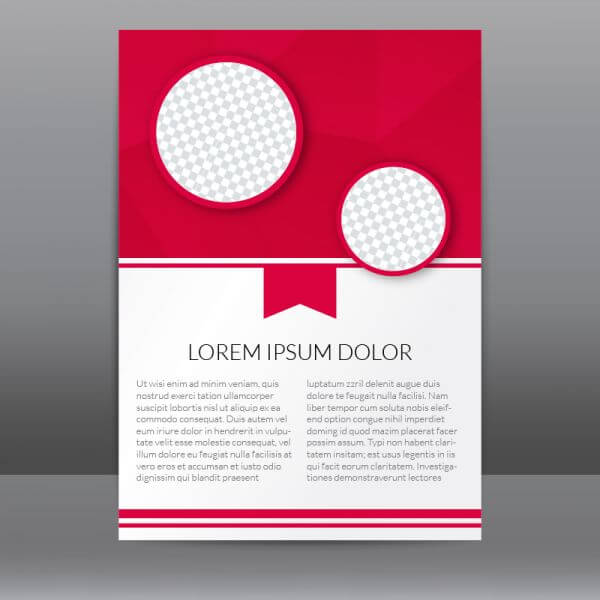 Red Flyer Template With Polygonal Background vector