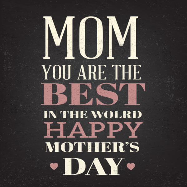 Happy Mother's Day Typography On Blackboard With Chalk vector