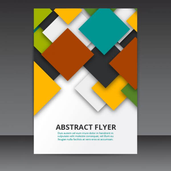 Flyer Template Vector Design with colorful 3D Squares  vector
