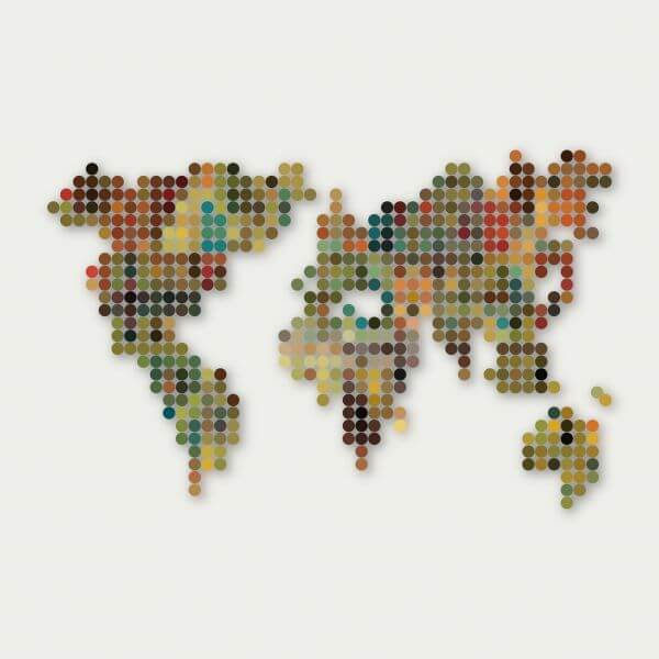abstract colorful dot style world map pattern background vector