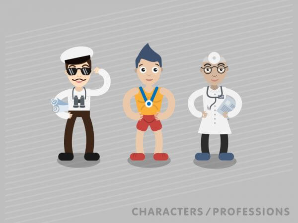 Three characters in different professions: shipman, sportsman, doctor vector