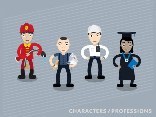 Vector characters in different professions vector