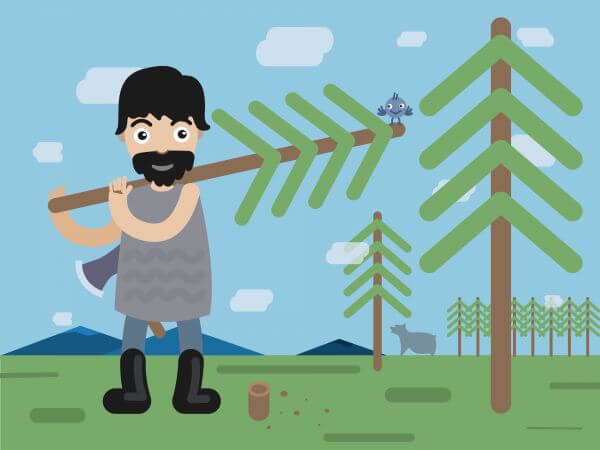 Lumberman profession vector character illustration vector
