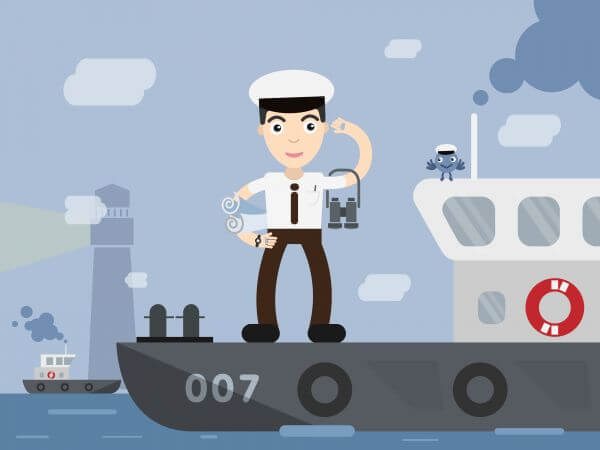 Shipman profession vector character illustration vector