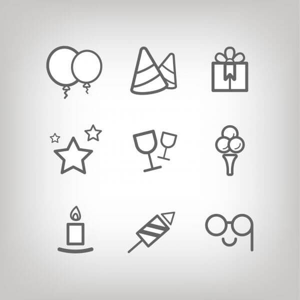 Vector icons for birhday or wedding design vector