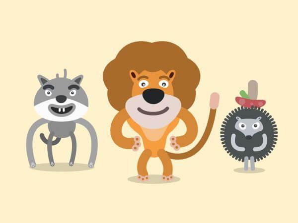 Vector cartoon wild characters illustration