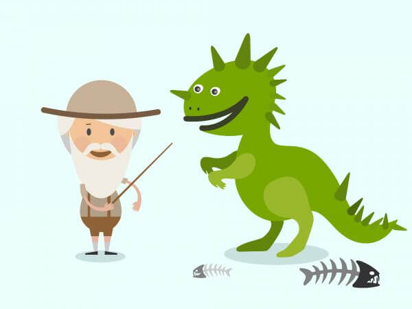 Vector cartoon dinosaur and men characters illustration vector