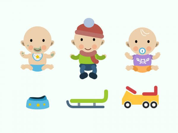 Vector cartoon baby characters illustration vector