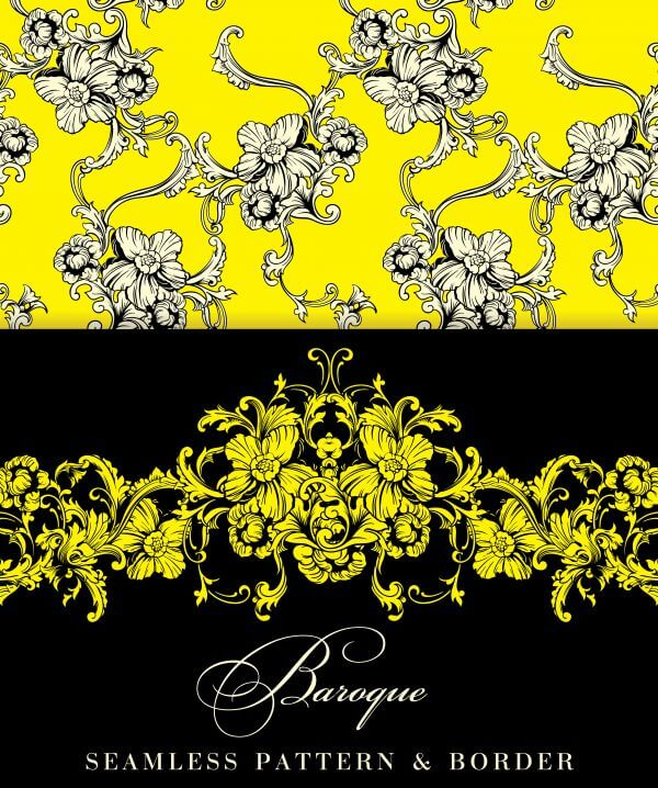 Seamless vector background. Baroque pattern and border. vector