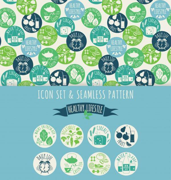 Healthy lifestyle. Icon set and seamless pattern vector