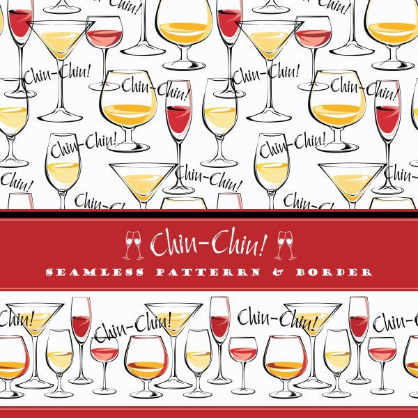 Seamless pattern and border wine glasses. vector