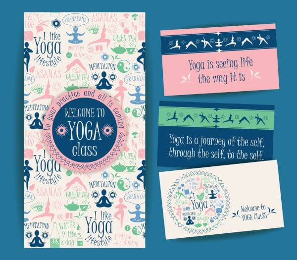 Design set for yoga class. Vector pattern with illustration yoga lifestyle.