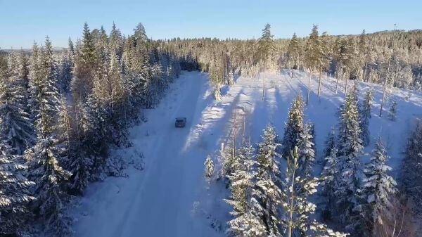 Car  driving  snowy video