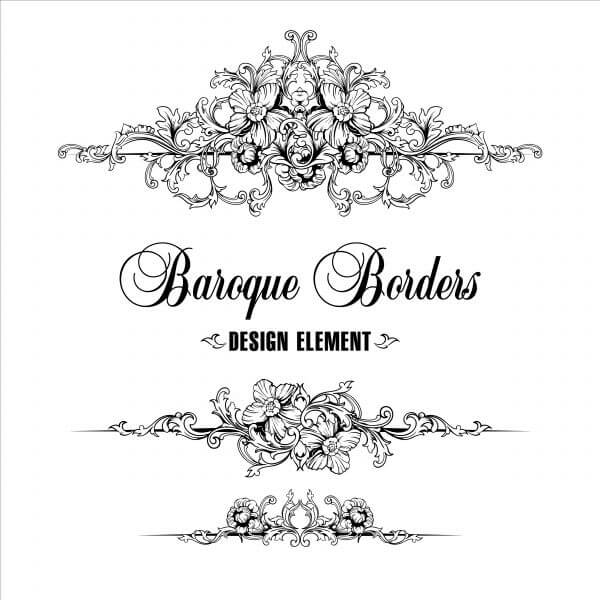 Ornamental border. Baroque pattern.  vector