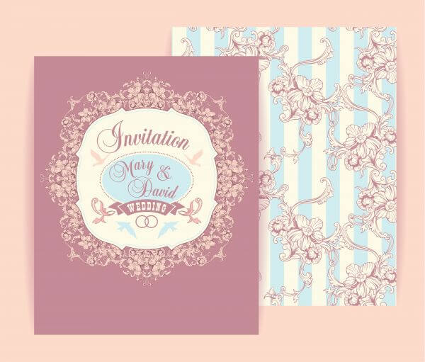 Wedding invitation cards with floral elements. Vector illustration. vector