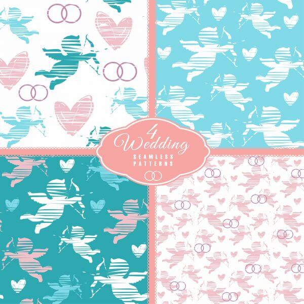 Wedding seamless pattern with angel. Vector illustration. vector