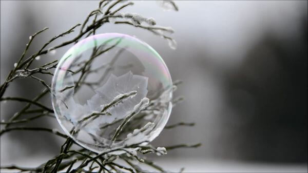 Soap bubble  freezer  winter video