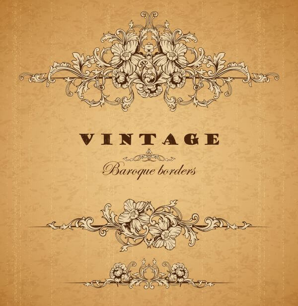Vintage ornamental baroque border vector