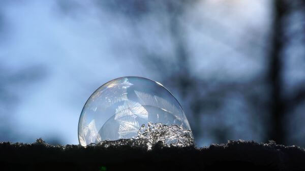 Soap bubble  freezer  crystal formation video