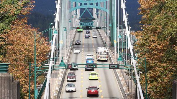 Suspension bridge  traffic  street video