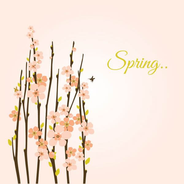 Vector spring background with flowering branches. vector