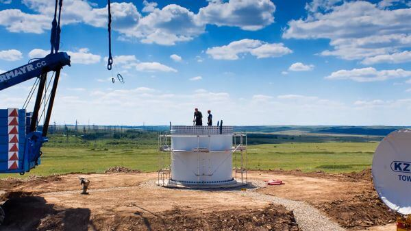 Wind turbine  construction  steppe video