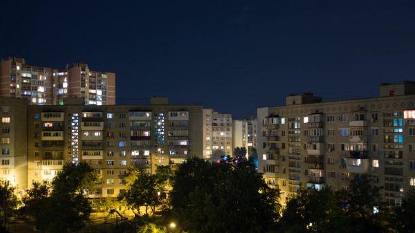 Night city  the light in the window  evening video
