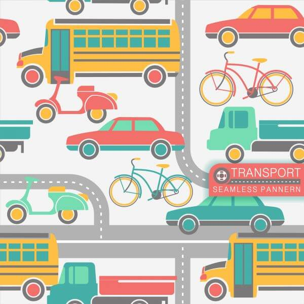 City transport seamless pattern vector