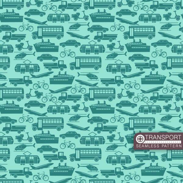 Transport seamless pattern vector