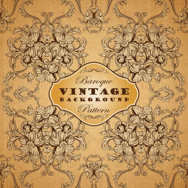 Vintage background with baroque pattern vector
