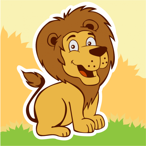Smiling lion vector