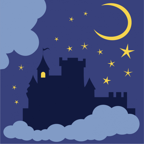 Mysterious castle in the night vector