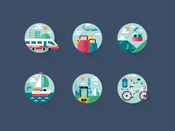 Travel icon pack vector